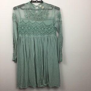 Sundance Dusty Blue Victorian Romance Dress Lace